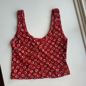 Brandy Melville red scoop neck crop top